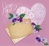 Vintage postcards, beautiful pansy flowers, lace h Royalty Free Stock Photo