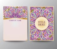 Vintage postcards with a floral mandala ornament and ornament. Stock Photos
