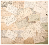 Vintage postcards. handwritten undefined texts Stock Images