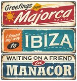 Vintage postcards layouts with popular touristic destination in Spain. Summer vacation souvenirs from Spain. Majorca and Ibiza retro tin signs templates. Vintage Stock Images