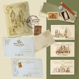 Vintage Postcards Set Stock Photos