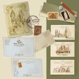 Vintage Postcards Set Stock Photos
