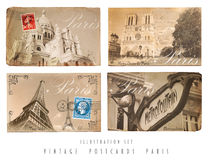 Vintage Postcards Set Paris. Set with four self designed Postcards with self taken photos in vintage style of Paris royalty free stock photo