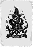 Vintage poster with anchor and octopus. Tattoo style Royalty Free Stock Photography
