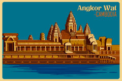 Vintage poster of Angkor Wat famous monument in Cambodia. Vintage poster of Angkor Wat, famous monument of Cambodia . Vector illustration Stock Photography