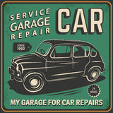 Vintage poster, auto repair. Stock Photos