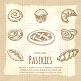Vintage poster of bakery products. Vintage poster of bakery or pastries products. Vector illustration Stock Photo