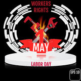 Vintage poster, banner or flyer design for 1st May Labor Day wit. H pedestal and fire. Vector illustration Stock Illustration