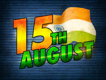 Vintage Poster, Banner or Flyer for 15th August. Creative glossy text 15th August with Waving Indian Flag on blue background, Vintage Poster, Banner or Flyer Stock Photos