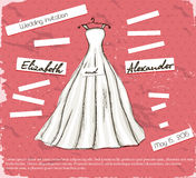 Vintage poster with beautiful wedding dress. Vector illustration EPS10 Stock Images
