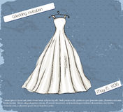 Vintage poster with beautiful wedding dress. Vector illustration EPS10 Royalty Free Stock Image