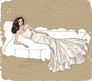 Vintage poster with beautiful wedding dress. Vector illustration EPS8 Stock Photos