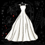 Vintage poster with beautiful wedding dress. Vector illustration EPS8 Stock Images