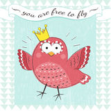 Vintage poster with bird. Motivational poster with cute cartoon bird and text. You are free to fly. Cartoon animal with text Royalty Free Stock Images