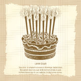 Vintage poster with birthday cake Stock Image