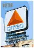 Vintage Poster of Boston and the Famous Citgo Sign royalty free stock photography