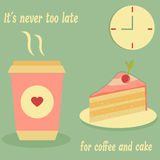 Vintage poster for cafe with cake, coffee and text. Vintage poster for cafe, restaurant with cake, coffee and text Vector Illustration