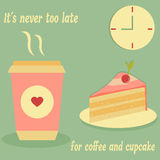 Vintage poster for cafe with cupcake, coffee and text. Vintage poster for cafe, restaurant with cupcake, coffee and text Royalty Free Stock Photos
