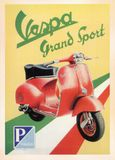Vintage Poster card. Printed during World War â…¡. - Showing up VESPA - Grand Sport royalty free stock photography