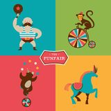Vintage poster with carnival, fun fair, circus Royalty Free Stock Images