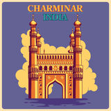 Vintage poster of Charminar in Hyderabad famous monument of India stock illustration