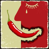 Vintage poster with chili pepper. Vector Royalty Free Stock Photography