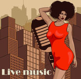 Vintage poster with cityscape , retro woman singer and moon. Red dress on woman. Retro microphone. Jazz, soul and blues live music. Vintage poster with cityscape Royalty Free Stock Photos