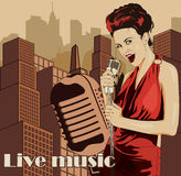 Vintage poster with cityscape , retro woman singer and moon. Red dress on woman. Retro microphone. Jazz, soul and blues live music Stock Image