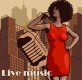 Vintage poster with cityscape , retro woman singer and moon. Red dress on woman. Retro microphone. Jazz, soul and blues live music Royalty Free Stock Photos
