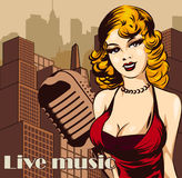 Vintage poster with cityscape , retro woman singer and moon. Red dress on woman. Retro microphone. Jazz, soul and blues live music Stock Photo