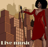 Vintage poster with cityscape , retro woman singer and moon. Red dress on woman. Retro microphone. Jazz, soul and blues live music. Vintage poster with cityscape Stock Photography