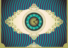 Vintage poster with clock. Royalty Free Stock Images