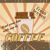 Vintage poster with a coffee cup. Poster in vintage style with a coffee cup and text Royalty Free Stock Images