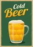 Vintage poster cold beer. Stock Photography
