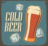 Vintage poster cold beer and ice cube. Stock Image