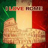 Vintage poster with Colosseum on the grunge background. Retro hand drawn vector illustration ' I love Rome' Royalty Free Stock Images