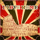 Vintage poster with Colosseum on the grunge background. Retro illustration in sketch style ' I love Rome' Stock Images