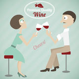 Vintage poster of a couple with wine Royalty Free Stock Images