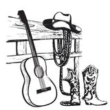 Vintage poster with cowboy clothes and music guitar vector illustration