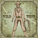 Vintage poster with cowboy holding a lasso .Retro hand drawn vector illustration wild west in sketch style Stock Images