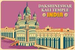 Vintage poster of Dakshineswar Kali Temple in Kolkata famous monument of India Stock Photos