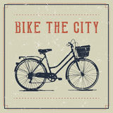 Vintage poster design with bicycle. Vintage poster with Bicycle, bike to work and city concept Stock Photo