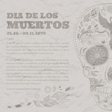 Vintage Poster Dia de Muertos Tattoo Skull Ornate Day of The Dead damaged paper Stock Images