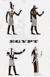 Vintage poster with egyptian gods on the grunge background. Royalty Free Stock Images
