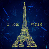 Vintage poster with Eiffel Tower on the grunge background. Retro illustration in sketch style ' I love Paris' Stock Photos
