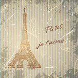 Vintage poster with Eiffel Tower on the grunge background. Retro illustration in sketch style ' I love Paris' Royalty Free Stock Image
