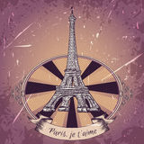 Vintage poster with Eiffel Tower on the grunge background. Retro illustration in sketch style ' I love Paris' Stock Image