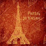 Vintage poster with Eiffel Tower on the grunge background. Retro illustration in sketch style ' I love Paris' Royalty Free Stock Photo