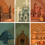 Vintage poster of famous landmark place with heritage monument in India. Vector illustration Royalty Free Stock Photos