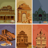 Vintage poster of famous landmark place with heritage monument in India Royalty Free Stock Photo